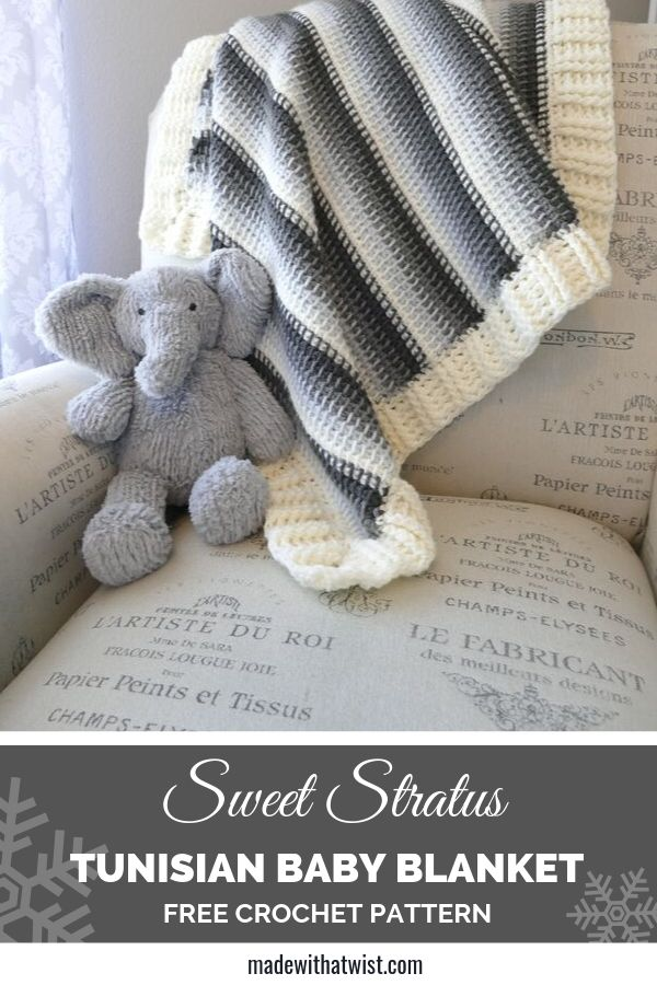 Pinterest photo for the Sweet Stratus  Tunisian Baby Blanket FREE Crochet Pattern with an image of the blanket on a sofa with an elephant stuffed toy