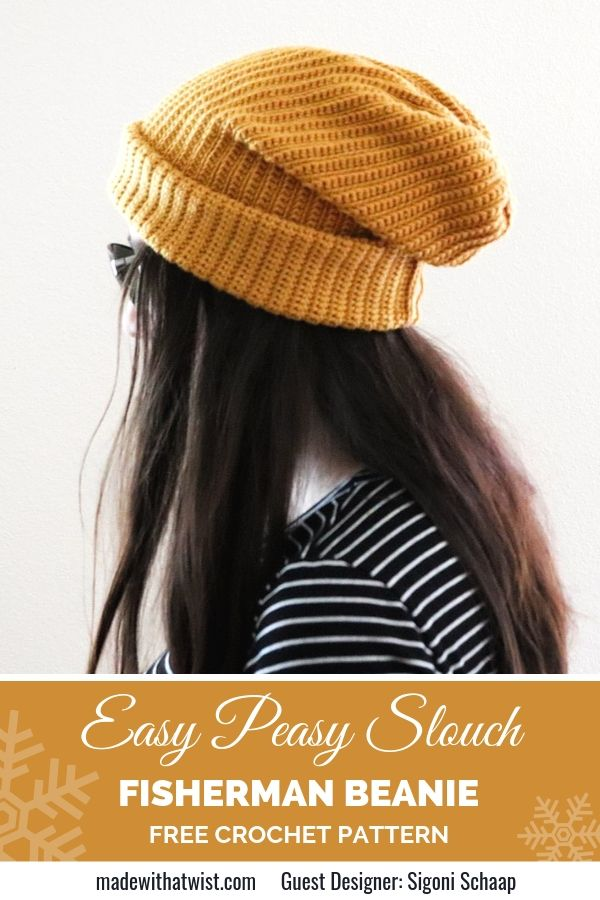 Pinterest graphic for Easy Peasy Slouch Fisherman Beanie FREE Crochet Pattern with a photo of a woman wearing a striped shirt and a winter hat looking away from the camera
