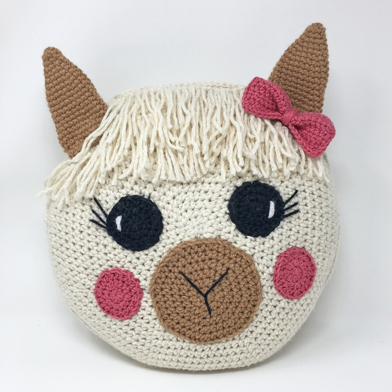 Image of Crochet Llama Pillow with white background