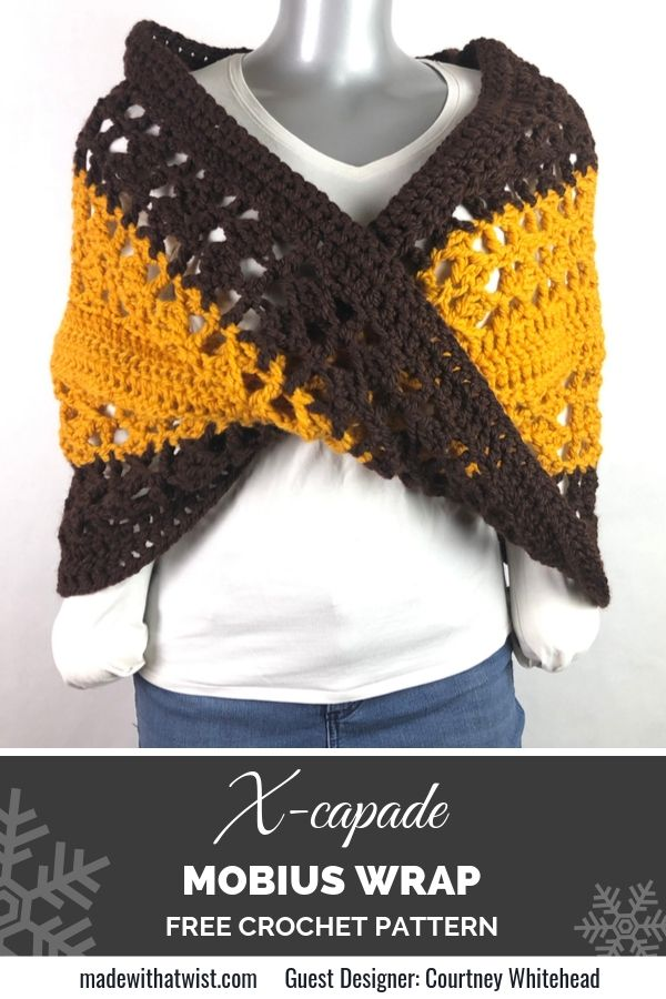 Pinterest graphic for X-capade Mobius Wrap FREE Crochet Pattern with a photo of the wrap on a mannequin on top of a white shirt