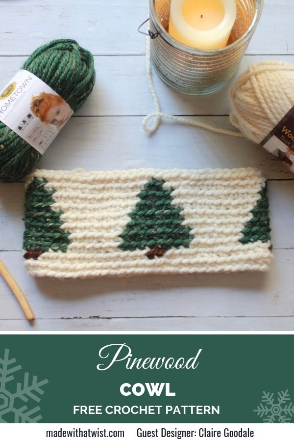 Pinterest graphic for Pinewood Cowl FREE Crochet Pattern with a photo of the neck warmer with 2 colored yarn and a candle