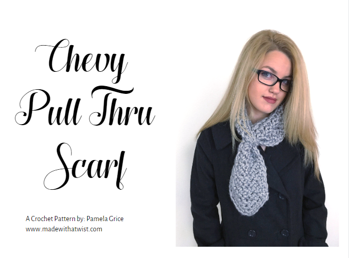 "Image of a woman wearing a neck warmer at the right with the ""Chevy Pull Thru Scarf"" written at the left side"