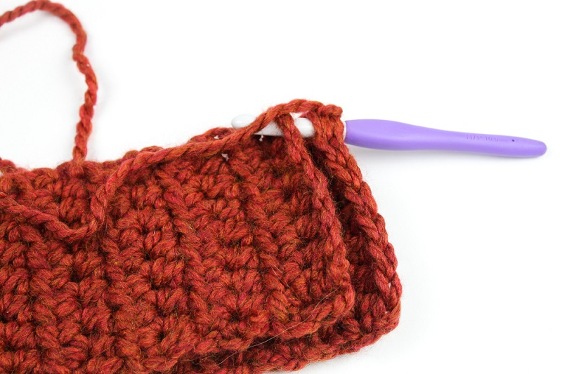Tutorial photo of making a crocheted unisex infinity scarf