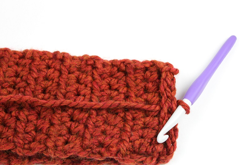 Tutorial image of making a crocheted infinity scarf