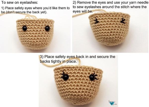Instructional photos on making the eyes and eyelashes of the doll