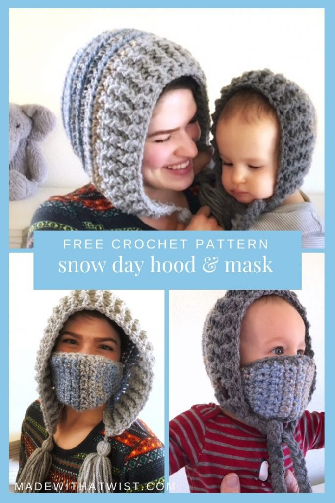 A Pinterest graphic for FREE Crochet Pattern Snow Day Hood & Mask with a photo of mother and child wearing a winter hood style hat