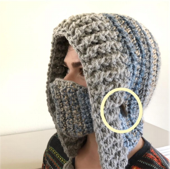 Sample image of how it looks like to attach the crocheted mask to the hood style hat