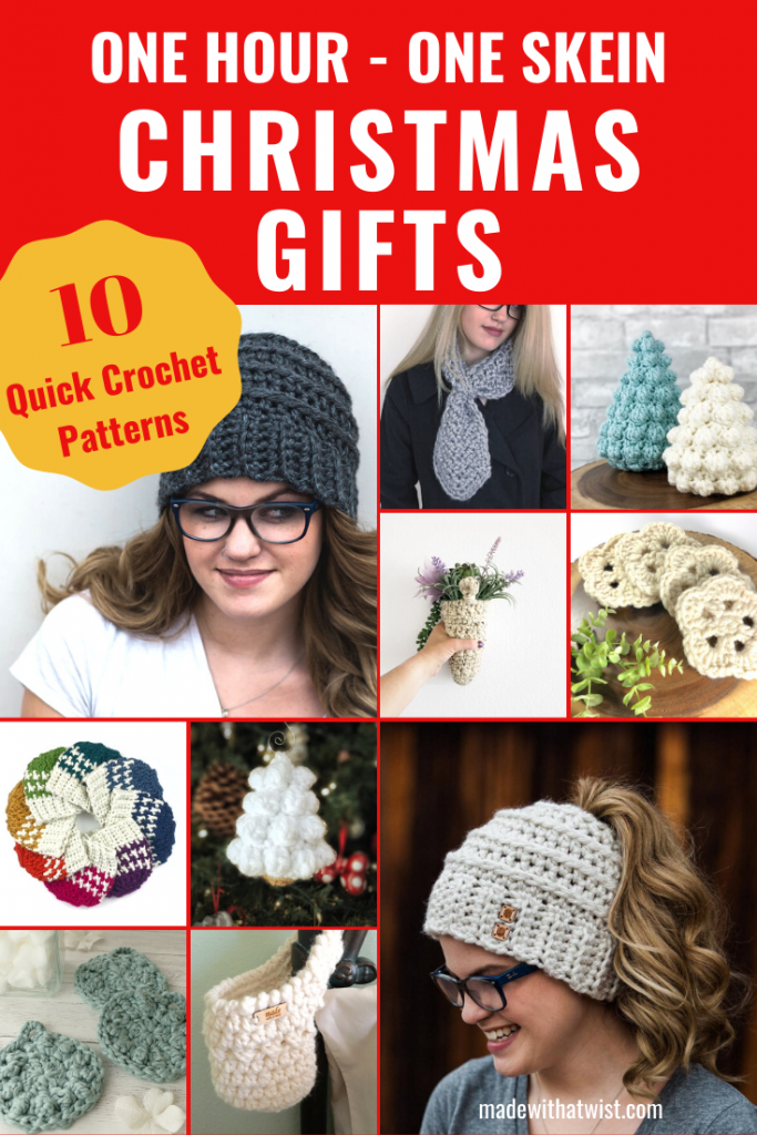Pinterest graphic for top 10 one-hour Christmas gift patterns with photo collage of sample crocheted products