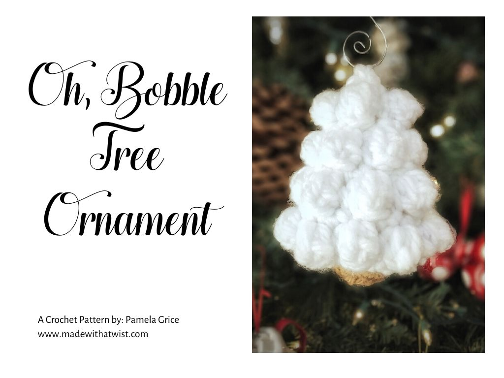 Graphic for the Oh, Bobble Tree Ornament a crochet pattern by Pamela Grice with a photo of the handmade decor