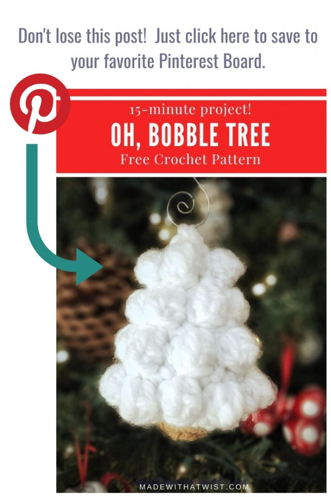 A photo reminder for Christmas Tree Ornament to pin this graphic in your crochet related Pinterest boards