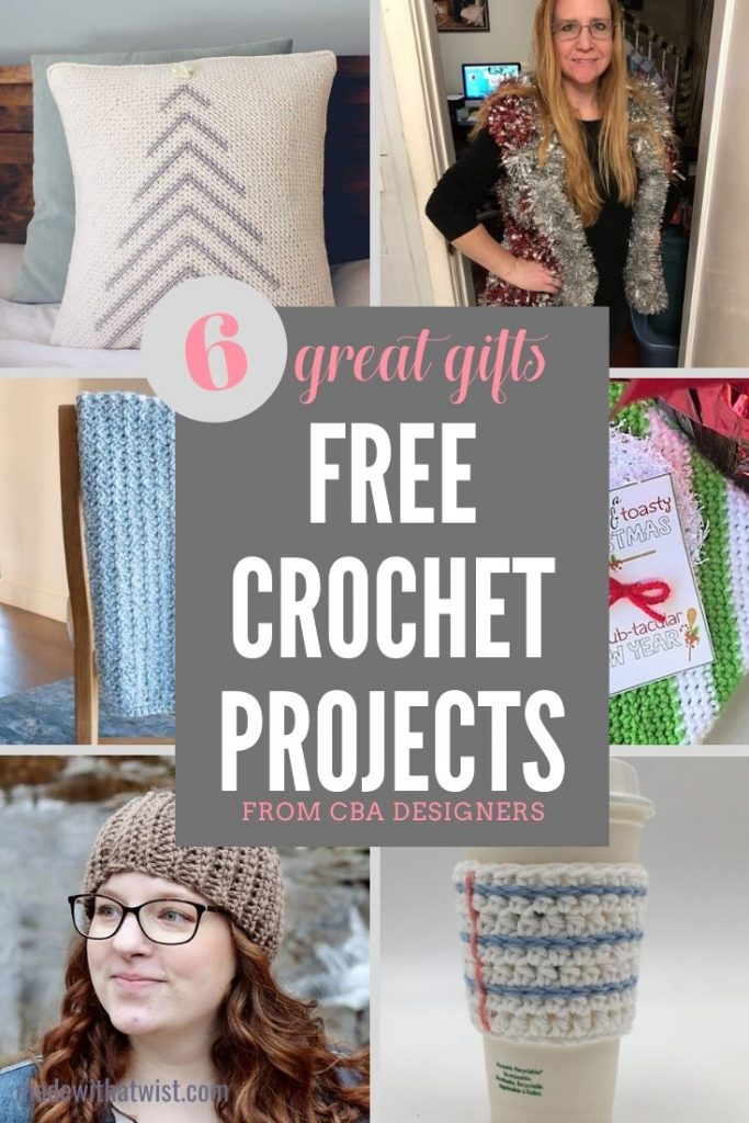 Pinterest graphic for 6 FREE Patterns for Great Crochet Gifts from CBA Designers with a collage of the items