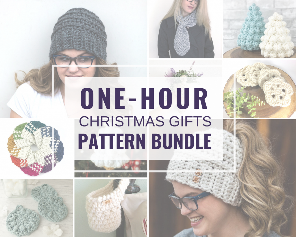 Photo collage of the 10 one-hour Christmas gifts pattern bundle