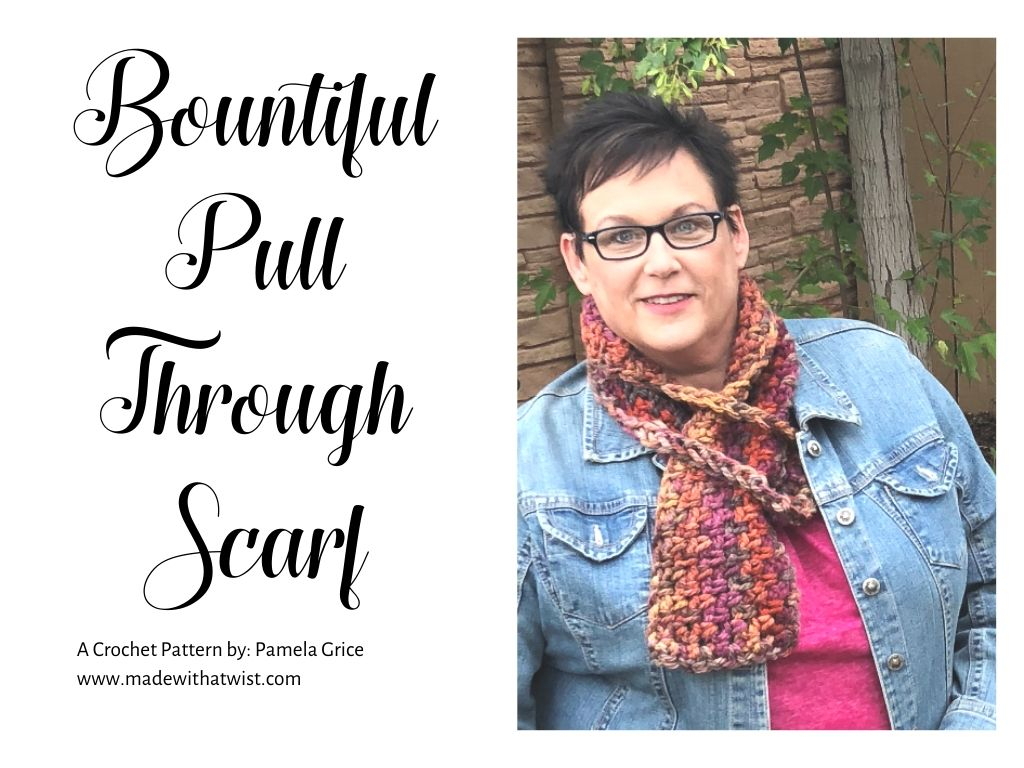Photo of me (Pam Grice) wearing the colorful Bountiful Pull Through Scarf