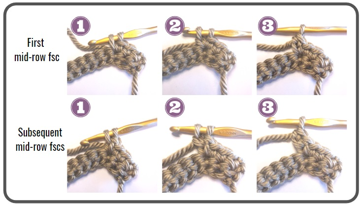 Photo collage of how to make the special stitches