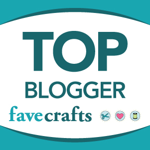 Button linking to favecrafts.com saying Top Blogger favecrafts