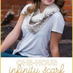 one hour infinity scarf free crochet pattern pin image